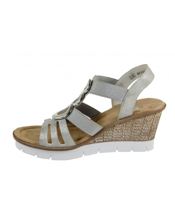 RIEKER - sandały na koturnie