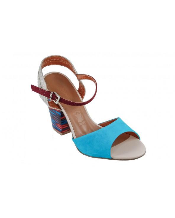 Sandały LORETTA VITALE - 50980 niebieski, bordowy