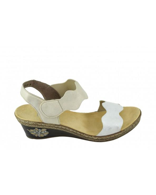 Sandały RIEKER - V2402-80 srebrny, złoty