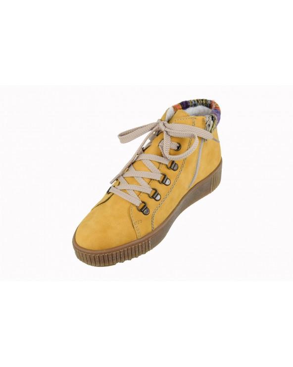 Botki RIEKER - M6411-68 żółty