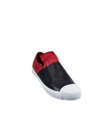 Mokasyny JOHN DOUBARE - MS1801-7A czarny, czerwony