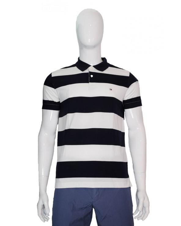 Koszulka Polo TOMMY HILFIGER - MW0MW13742 0A4 granatowy, biały