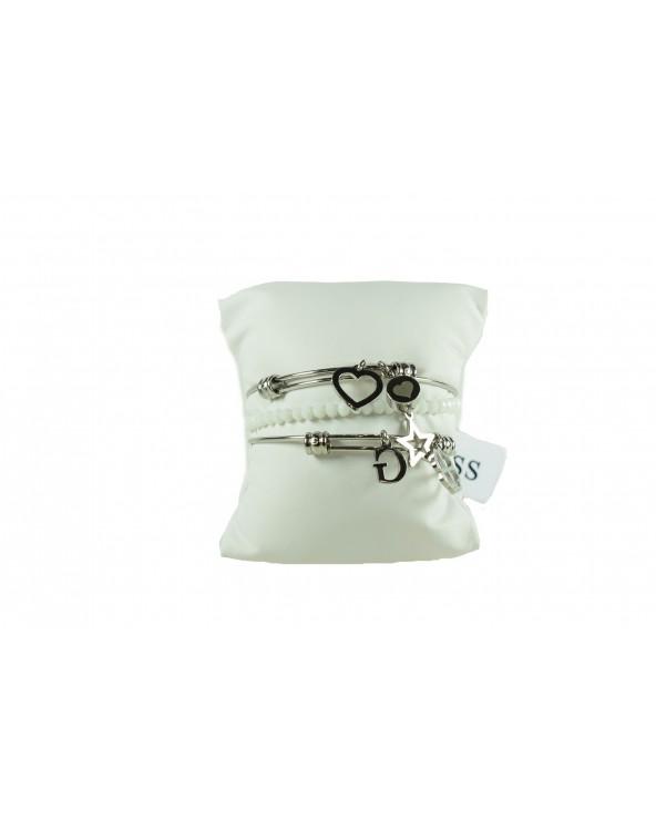 Bransoletka GUESS - UBS80001 srebrny, biały
